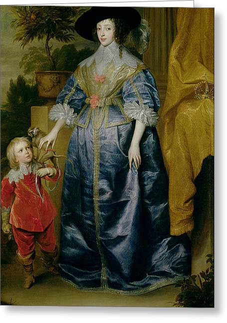 Juliet Greeting Cards - Queen Henrietta Maria And Her Dwarf Sir Jeffrey Hudson, C.1633 Greeting Card by Sir Anthony van Dyck