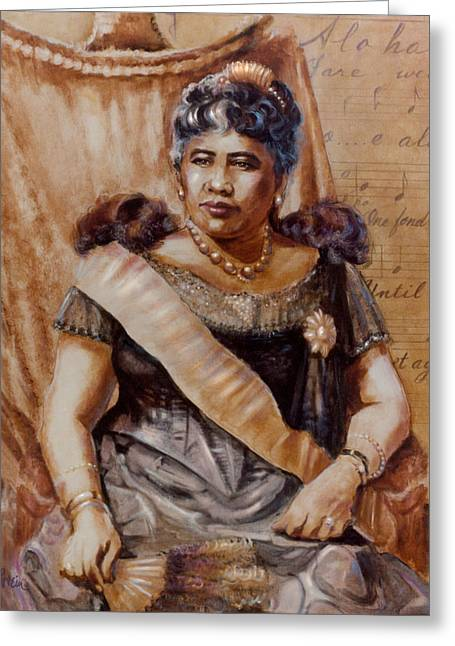 Oes Greeting Cards - Queen Liliuokalani Greeting Card by Mary Lovein