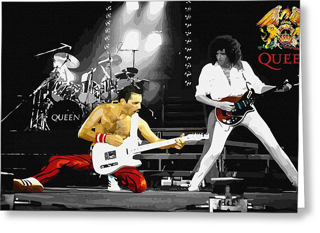 Young Michael Jackson Greeting Cards - Queen live in concert Greeting Card by Don Kuing