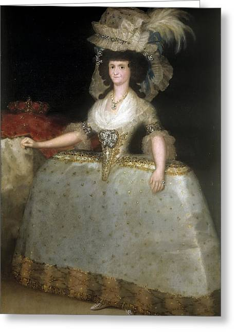 Pannier Greeting Cards - Queen Maria Luisa wearing panniers Greeting Card by Francisco Goya