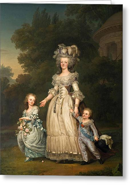 Trianon Greeting Cards - Queen Marie Antoinette of France and two of her Children Walking in The Park of Trianon Greeting Card by Adolf Ulrik Wertmueller