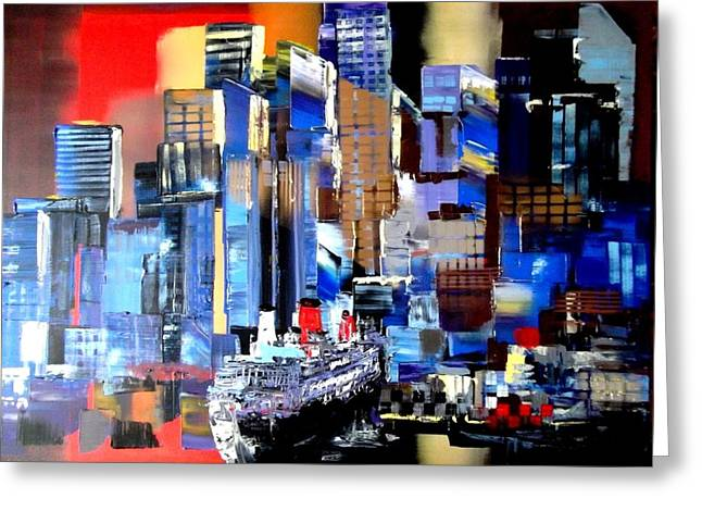 Queen Mary Paintings Greeting Cards - Queen Mary 2 Docking at New York Greeting Card by Eraclis Aristidou