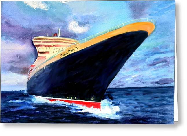 Queen Mary Paintings Greeting Cards - Queen Mary 2 Greeting Card by Donna Walsh