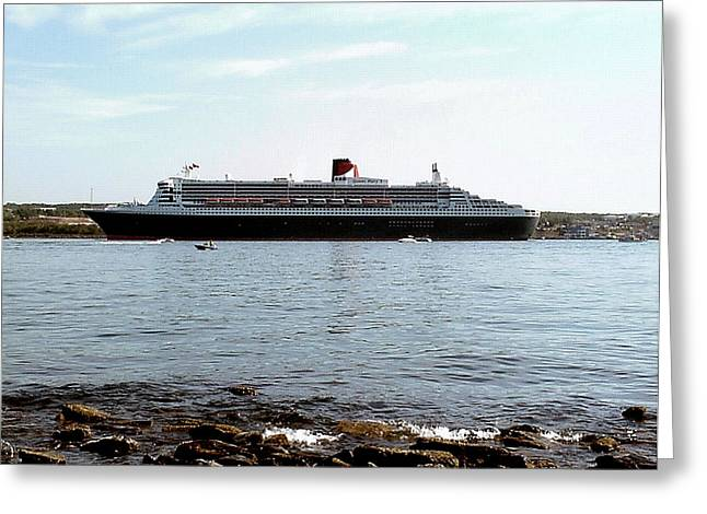 George Cousins Greeting Cards - Queen Mary 2 Halifax 2004 Greeting Card by George Cousins