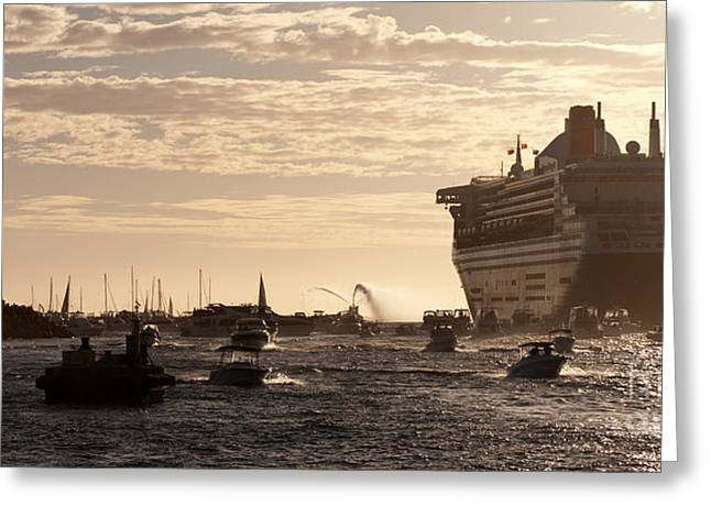 Boat Cruise Photographs Greeting Cards - Queen Mary 2 Leaving Port 01 Greeting Card by Rick Piper Photography