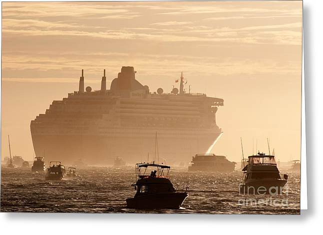 Boat Cruise Photographs Greeting Cards - Queen Mary 2 Leaving Port 02 Greeting Card by Rick Piper Photography