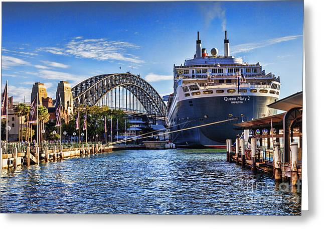 Tied-up Greeting Cards - Queen Mary 2 Sydney Greeting Card by Colin and Linda McKie