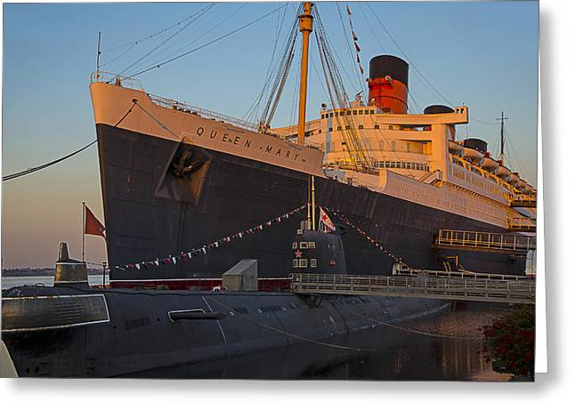Queen Greeting Cards - Queen Mary At Sunset Greeting Card by Garry Gay