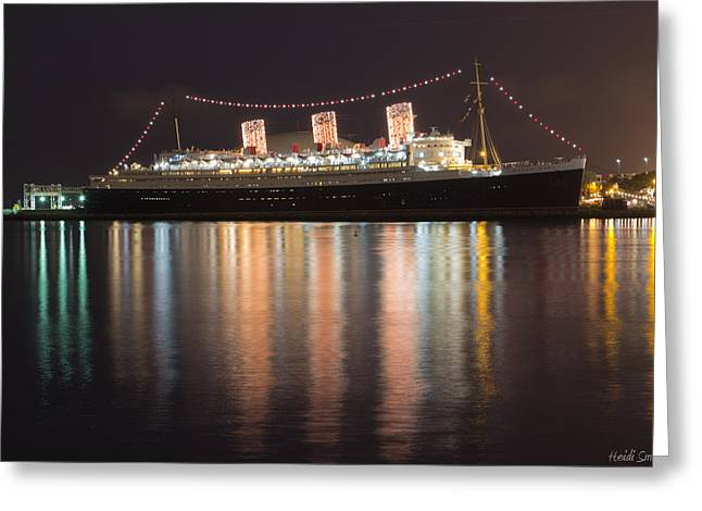 Manufacturing Greeting Cards - Queen Mary Decked Out For The Holidays Greeting Card by Heidi Smith