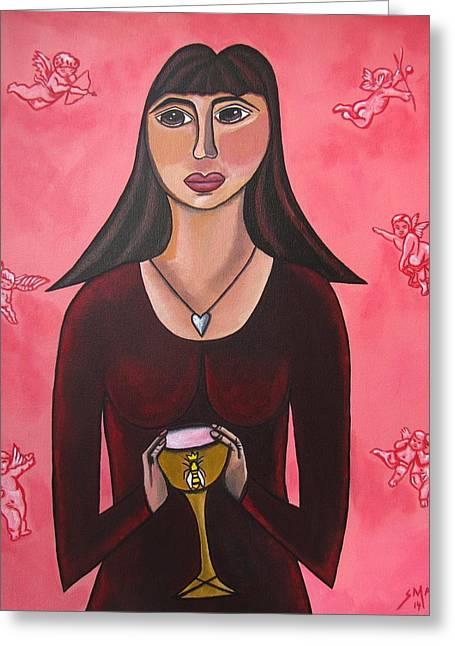 Sandra Marie Adams Greeting Cards - Queen Mary Magdalene - Grail Secrets Greeting Card by Sandra Marie Adams