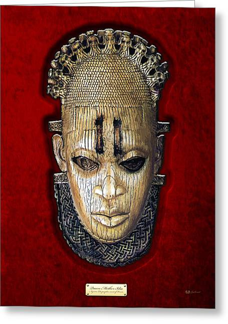 Best Sellers -  - African Heritage Greeting Cards - Queen Mother Idia - Ivory Hip Pendant Mask - Nigeria - Edo Peoples - Court of Benin on Red Velvet Greeting Card by Serge Averbukh