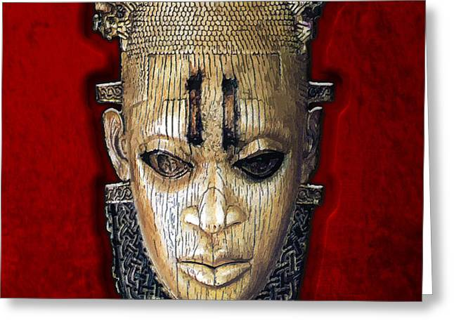 Queen Mother Idia - Ivory Hip Pendant Mask - Nigeria - Edo Peoples - Court of Benin on Red Velvet Greeting Card by Serge Averbukh
