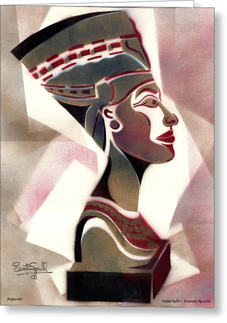Everett Spruill Mixed Media Greeting Cards - Queen Nefertiti 1998 Greeting Card by Everett Spruill