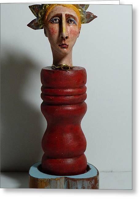 Figurative Sculptures Greeting Cards - Queen of Arts Greeting Card by Barbara Melnik Carson