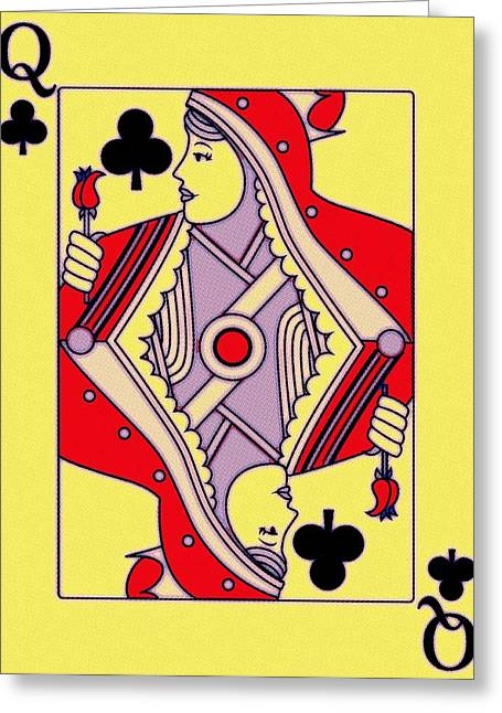 Playing Digital Greeting Cards - Queen of Clubs Greeting Card by Florian Rodarte