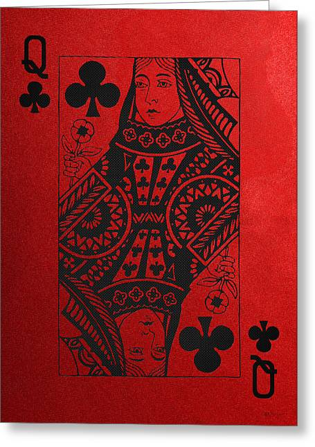 Playing Cards Greeting Cards - Queen of Clubs in Black on Red Canvas   Greeting Card by Serge Averbukh