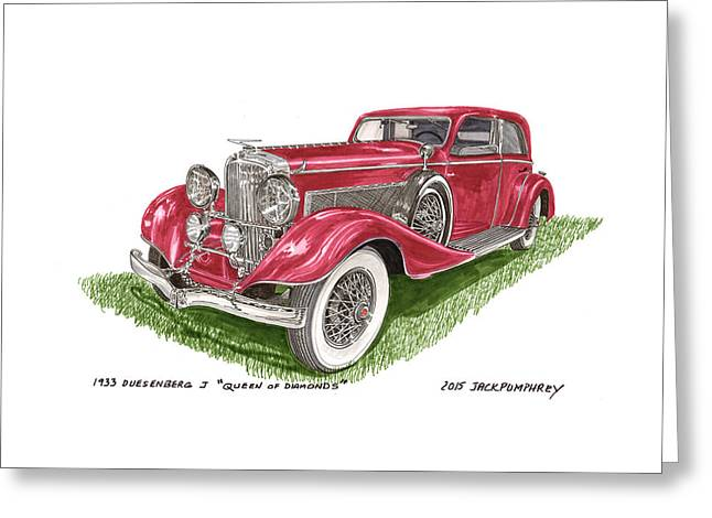 Masterful Greeting Cards - Queen Of Diamonds 1933 Duesenberg Model J Greeting Card by Jack Pumphrey