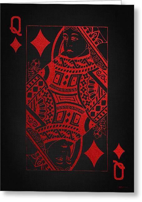Playing Cards Greeting Cards - Queen of Diamonds in Red on Black Canvas   Greeting Card by Serge Averbukh