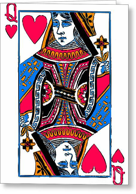 Deck Of Cards Greeting Cards - Queen of Hearts 20140301 Greeting Card by Wingsdomain Art and Photography