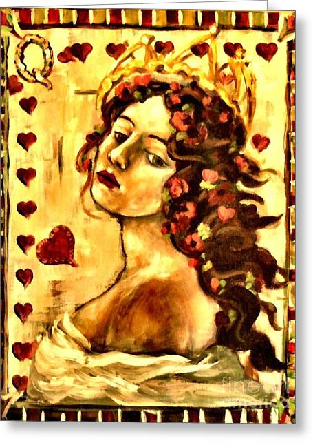 Carrie Joy Byrnes Greeting Cards - Queen of Hearts Greeting Card by Carrie Joy Byrnes