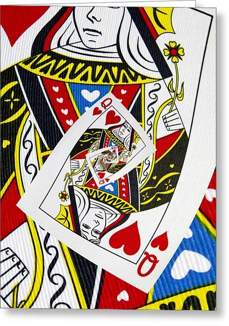 Playing Digital Greeting Cards - Queen Of Hearts Collage Greeting Card by Kurt Van Wagner