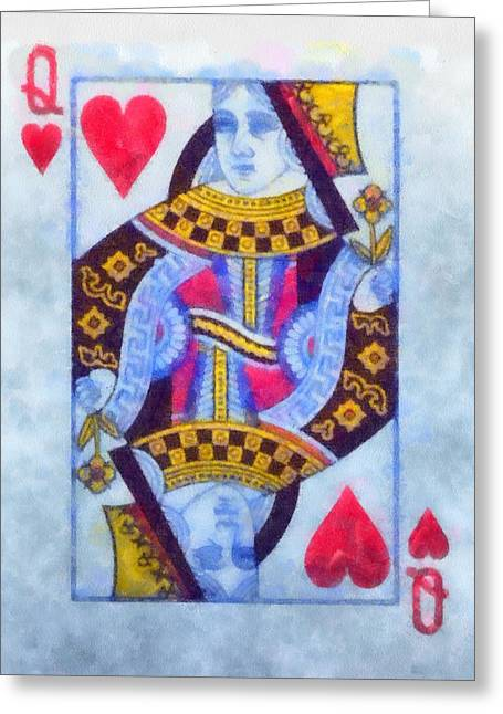 Chip Mixed Media Greeting Cards - Queen Of Hearts Greeting Card by Dan Sproul
