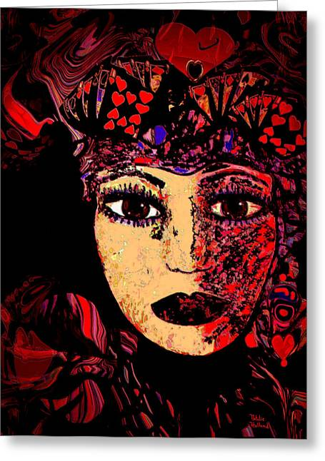 Spiritual Portrait Of Woman Mixed Media Greeting Cards - Queen Of Hearts Greeting Card by Natalie Holland