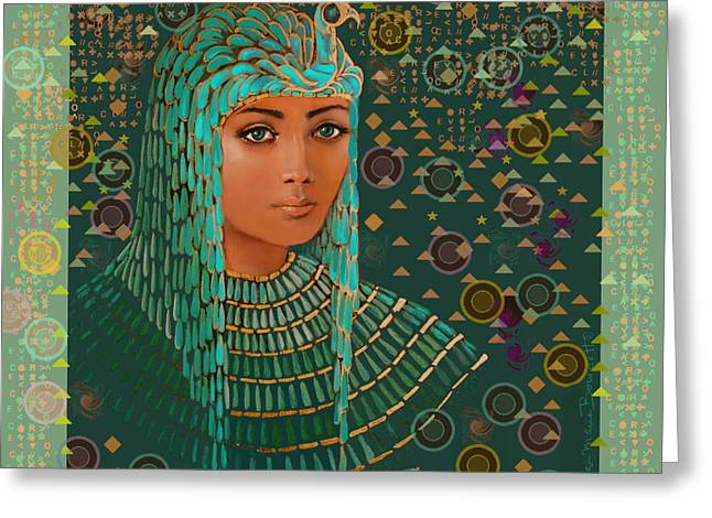 Atlantis Mixed Media Greeting Cards - Queen of Lost Language Greeting Card by Jean Marie Bowcott