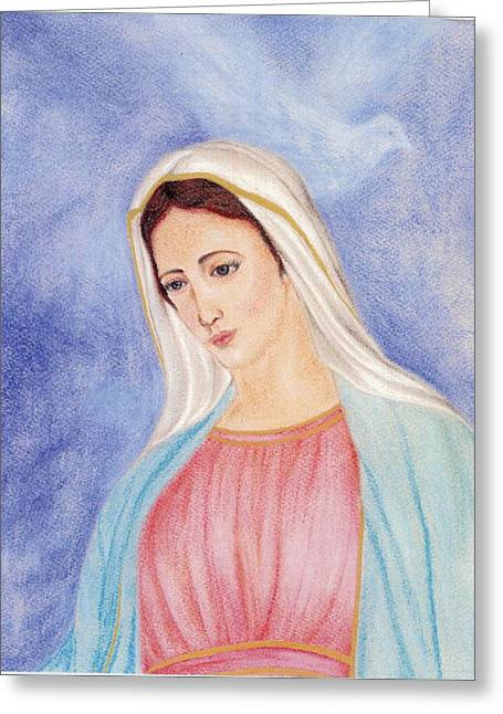 Virgin Pastels Greeting Cards - Queen of Peace Greeting Card by Darcie Cristello