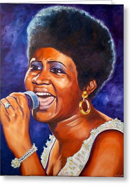 Gold Earrings Paintings Greeting Cards - Queen of Soul Greeting Card by Christina Clare