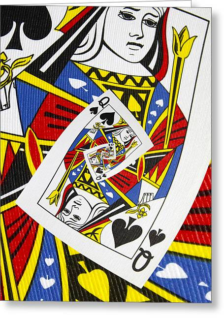 Playing Cards Greeting Cards - Queen of Spades Collage Greeting Card by Kurt Van Wagner