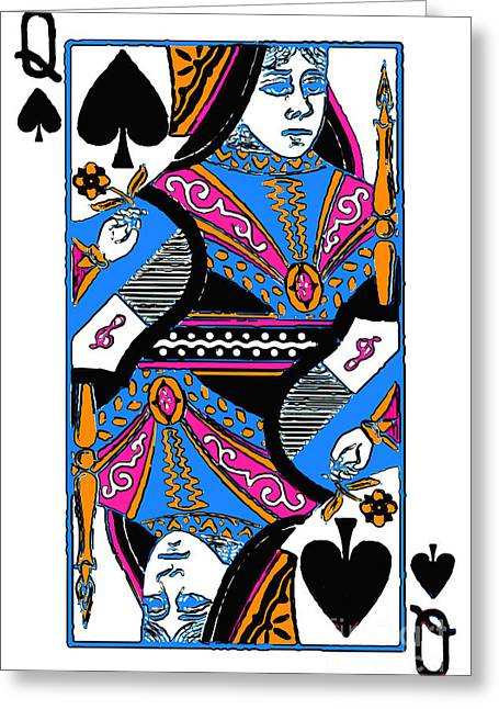 Playing Cards Digital Art Greeting Cards - Queen of Spades - v3 Greeting Card by Wingsdomain Art and Photography