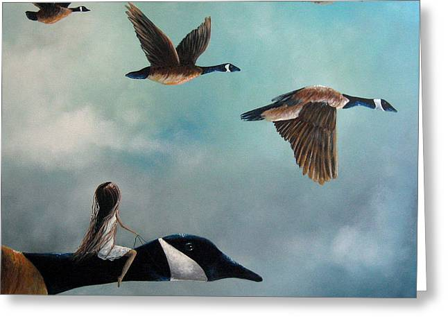 Outsider Art Paintings Greeting Cards - Queen Of The Canada Geese by Shawna Erback Greeting Card by Shawna Erback