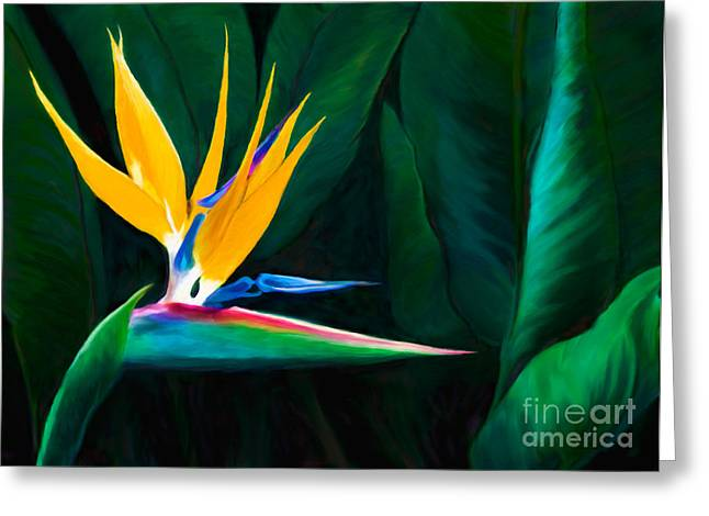 Strelitzia Paintings Greeting Cards - Queen of the Garden Bird Of Paradise Flower Greeting Card by Sherry  Curry