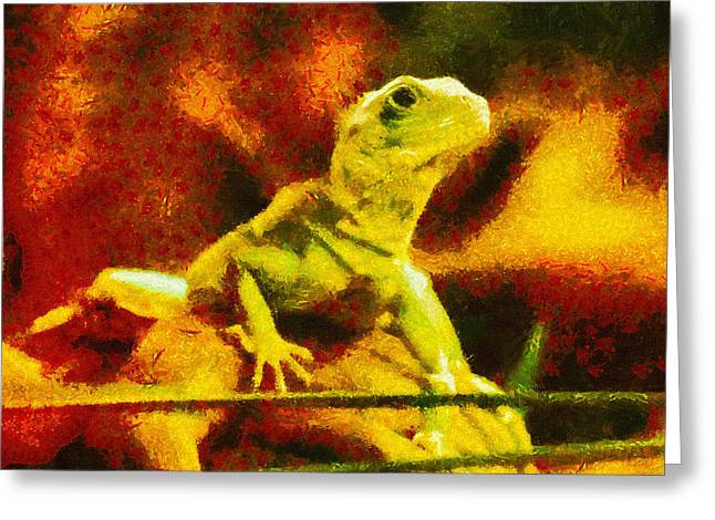 Creepy Digital Art Greeting Cards - Queen of the Reptiles Greeting Card by Ayse Deniz