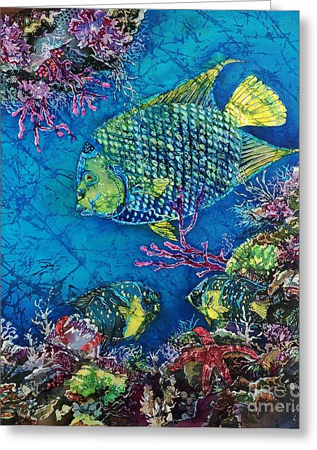 Sun Tapestries - Textiles Greeting Cards - Queen of the Sea Greeting Card by Sue Duda