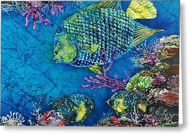 Marine Fish Tapestries - Textiles Greeting Cards - Queen of the Sea Greeting Card by Sue Duda