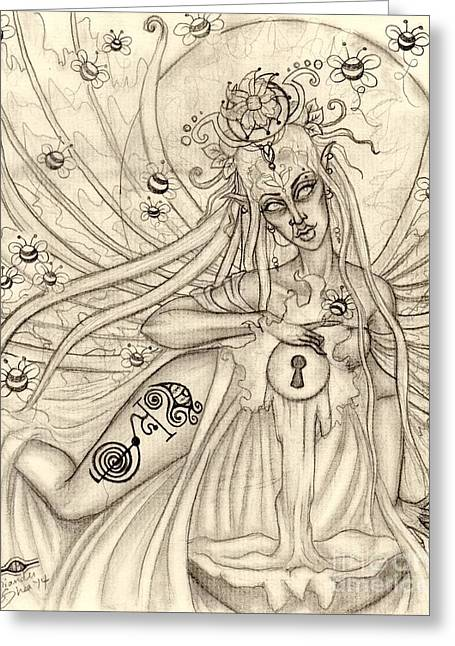 Gaia Drawings Greeting Cards - Queen Oonagh Greeting Card by Coriander  Shea