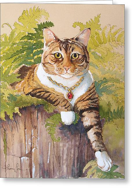 Cat Mixed Media Greeting Cards - Queen Ruby Cat Greeting Card by Tracie Thompson