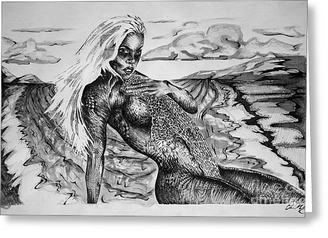On The Beach Drawings Greeting Cards - Queen Siren Greeting Card by Chris Mickey