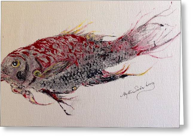 Fish Rubbing Greeting Cards - Queen Snapper Beauty Greeting Card by Phyllis Soderberg