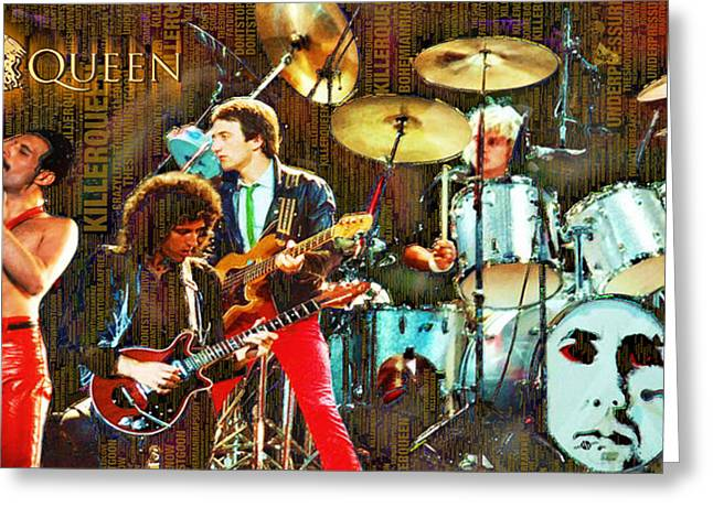 British Celebrities Mixed Media Greeting Cards - Queen Greeting Card by Tony Rubino