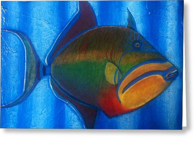 Triggerfish Paintings Greeting Cards - Queen Triggerfish  1 Greeting Card by Chad Gill