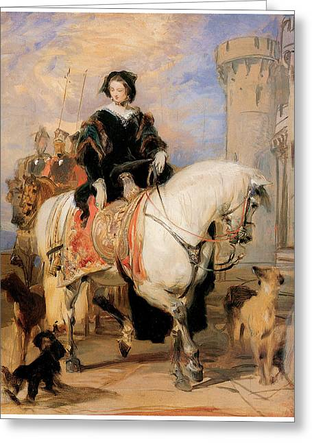 Edwin A Greeting Cards - Queen Victoria on Horseback Greeting Card by Sir Edwin Landseer