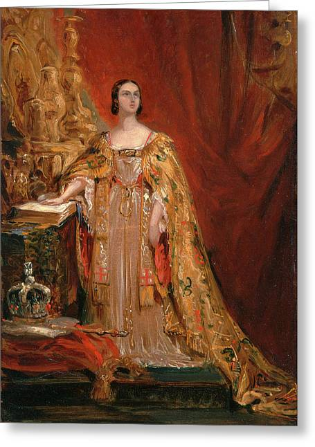 Queen Victoria Taking The Coronation Oath, June 28 Greeting Card by Litz Collection