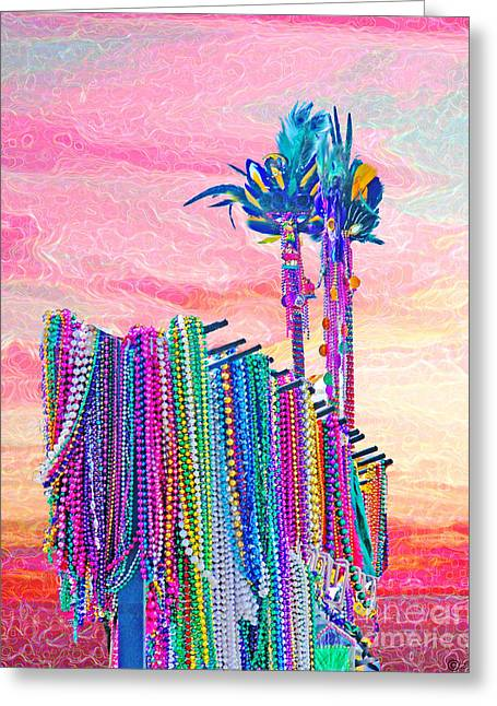 Mardis Greeting Cards - Queens Beads Greeting Card by Lizi Beard-Ward