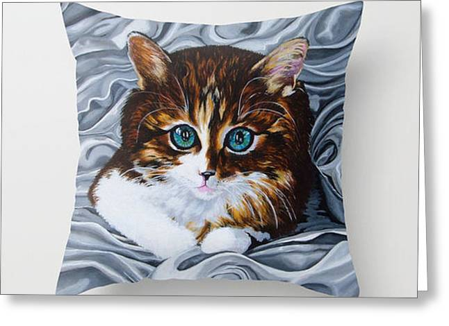 Kitten Tapestries - Textiles Greeting Cards - Queens Darling Greeting Card by Annette Jimerson