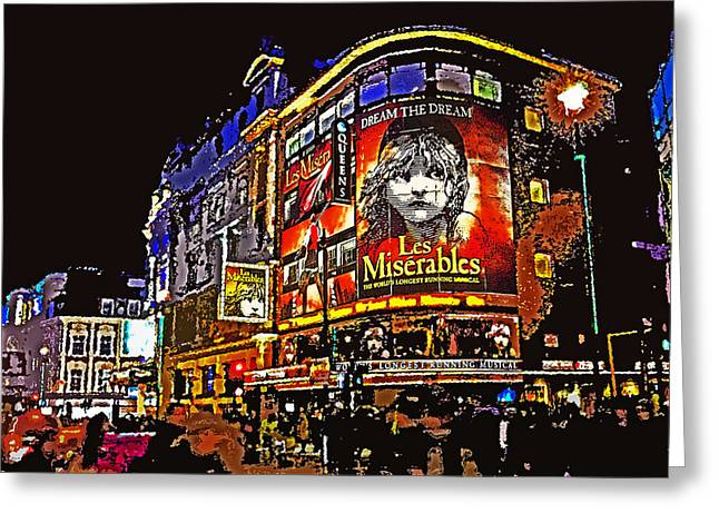 Les Mixed Media Greeting Cards - Queens Theatre London Greeting Card by Peter Allen
