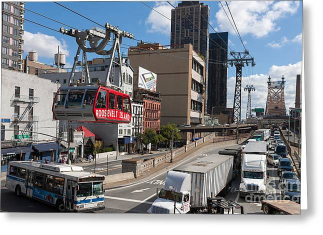 Aerial Tramway Greeting Cards - Queensboro Bridge Traffic I Greeting Card by Clarence Holmes