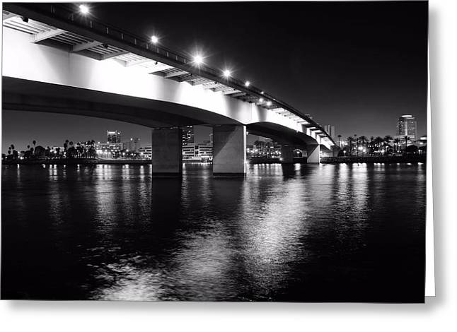 Landscape. Of City At Night And A Bridge. Greeting Cards - Queensway Bridge Greeting Card by Jenny Hudson
